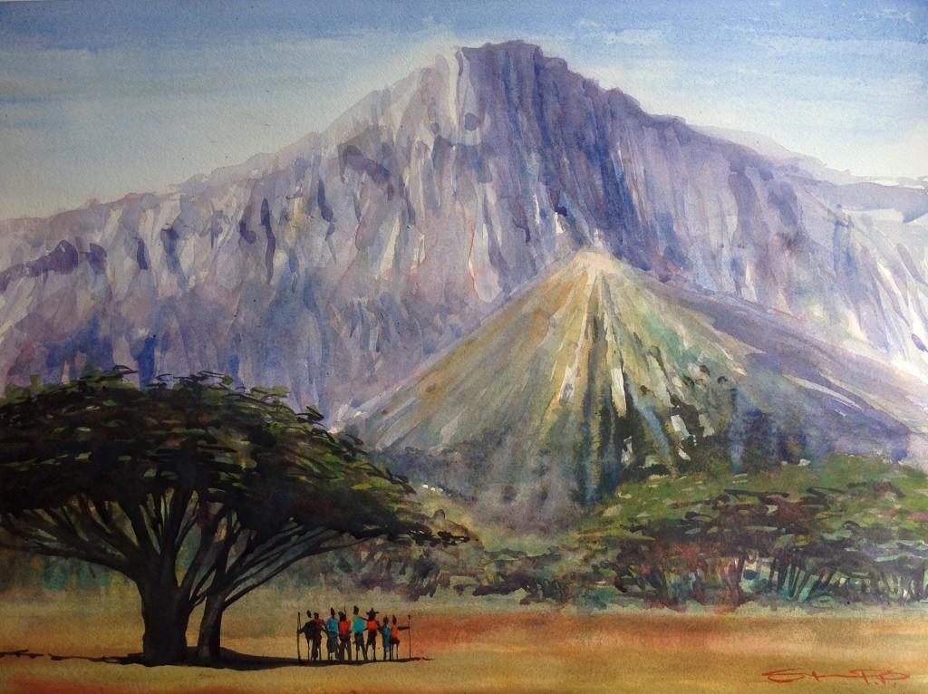 Mt.Meru watercolour painting by Woolacombe artist Steve PP.