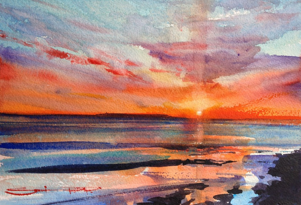 April's No Fool watercolour painting by Steve Pleydell-Pearce available from his Woolacombe Art gallery in North Devon