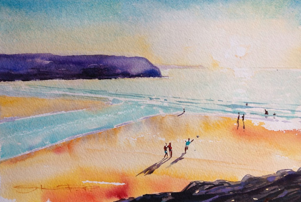 """Low tide Half time"" a hot late afternoon game of beach football . Woolacombe Bay watercolour painting by North devon Artist Steven Pleydell-Pearce from the Woolacombe Art Gallery of Steve PP"