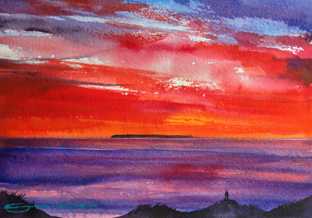 Lundy Sunsetters Lundy Island sunset watercolour painting by Woolacombe Bay artist Steve PP available from his North Devon Art gallery