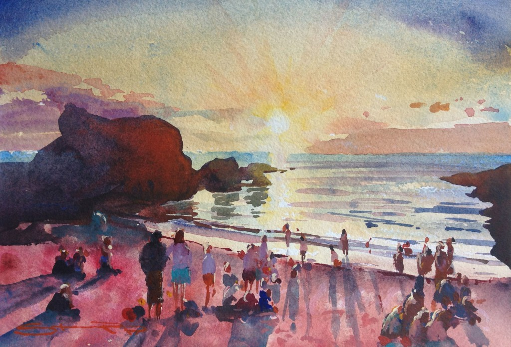 Worshipping at the Shrine , Barricane Beach, Woolacombe Bay sunset watercolour painting by North Devon Artist Steve PP, available from his Woolacombe Fine Art Gallery