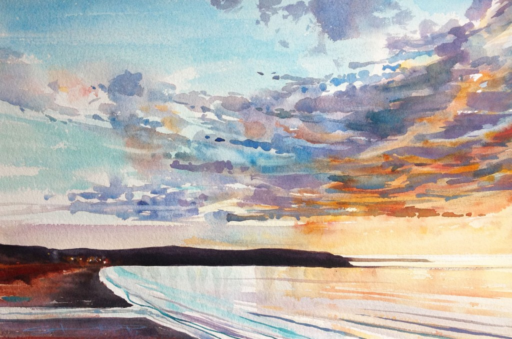 Spring is in the Air an original watercolour painting on Arches paper by North Devon artist Steve PP, available from his Woolacombe Art Gallery.
