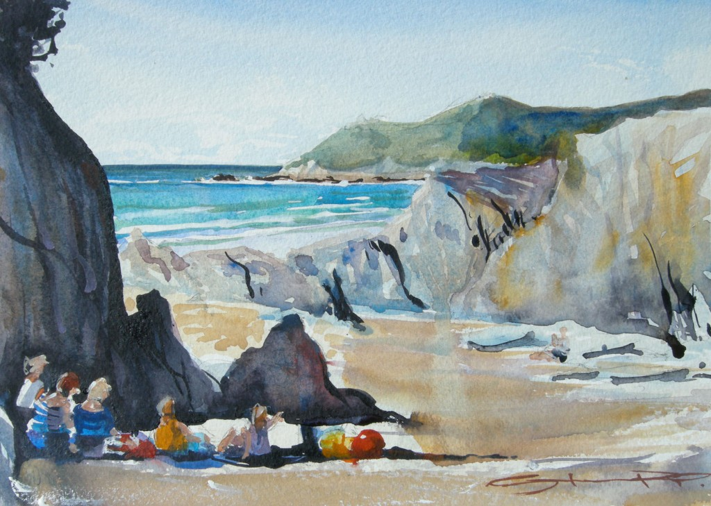 SunnyBarricaneSunday plein air watercolour painting by Woolacombe artist Steve PP