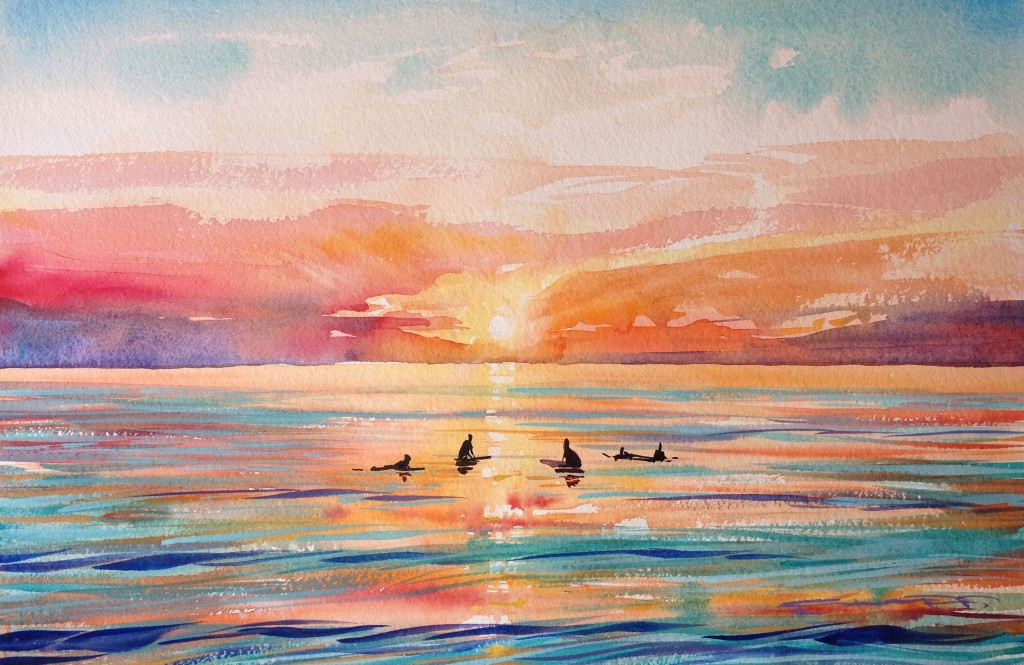 """Waiting for that last Set "" surfers sat in the lineup waiting for the final wave of the day. watercolour painting by artist Steve PP available from his Woolacombe Art Gallery"