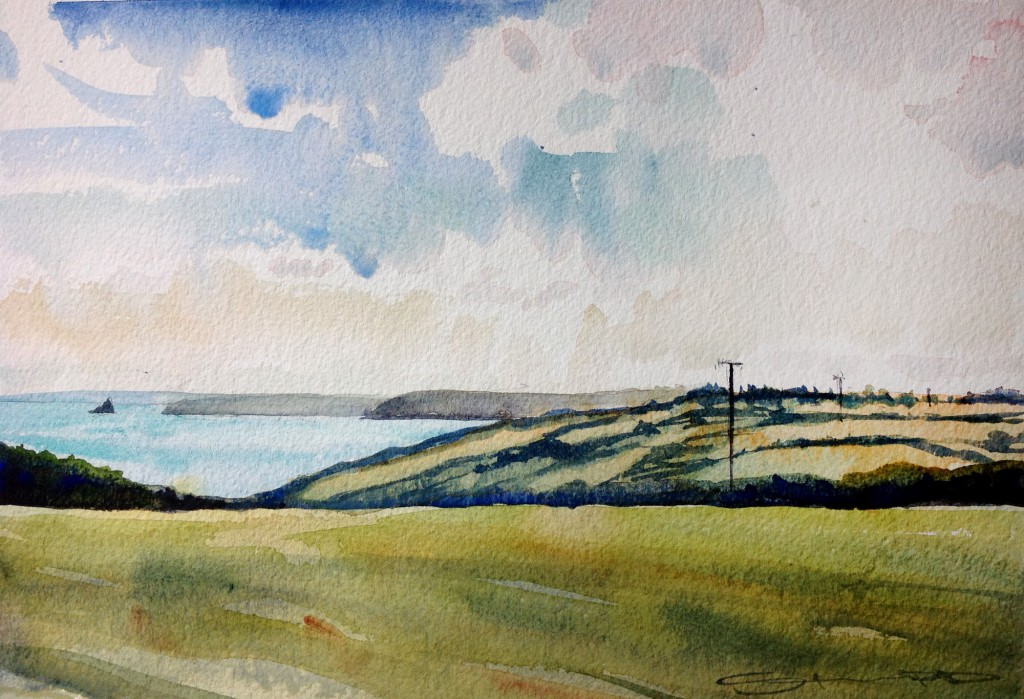 Dodman Point across to Falmouth, Cornwall. Watercolour painting by North Devon Artist Steve PP, available from his Woolacombe Art Gallery