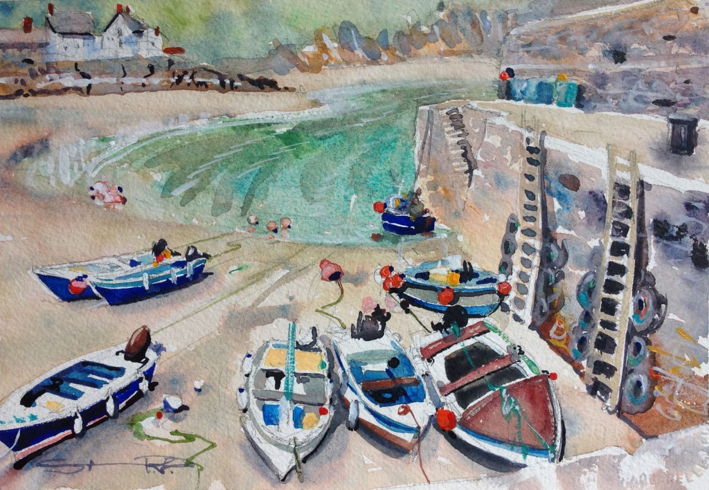 Early Morning Gorran Haven, Cornwall harbour watercolour painting by Steve PP , available from his Woolacombe Art Gallery