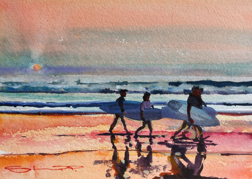 Apres Surf watercolour painting by Woolacombe artist Steve PP, available from his North Devon Gallery