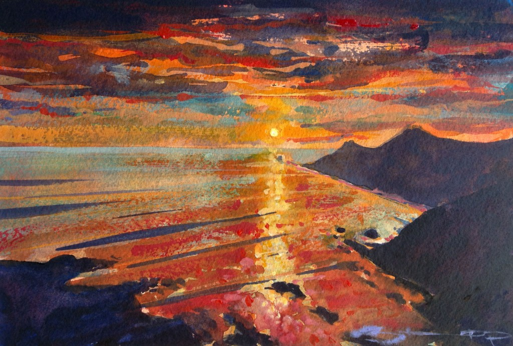 midsummer_rhapsody on Morte Pt watercolour painting by Woolacombe artist Steve PP, available from his Woolacombe Art Gallery