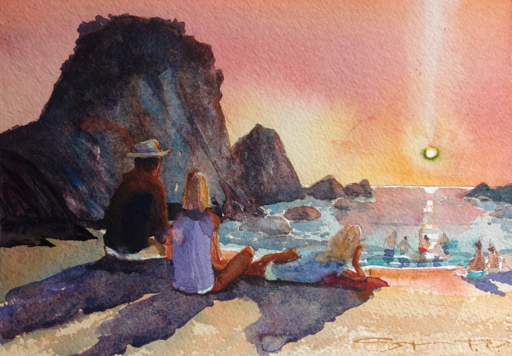 """Warmth of the Sun"" Barricane Beach woolacombe watercolour painting by N Devon artist Steve PP, available from his Woolacombe Art Gallery"