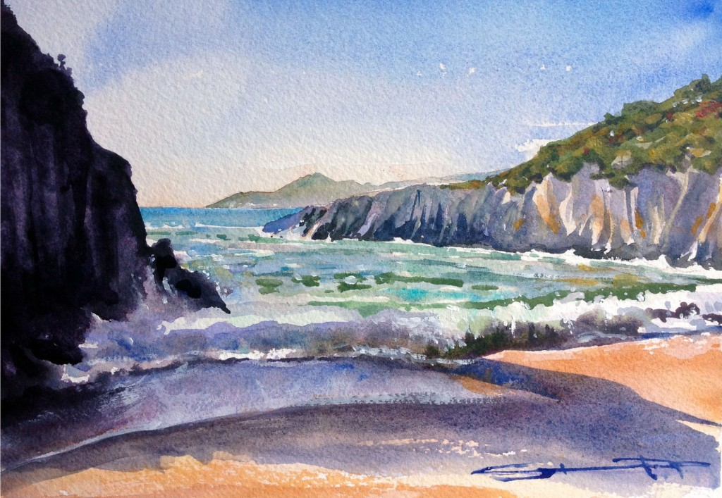 Pushing Tide Barricane Beach, watercolour painting by North Devon artist Steve PP, available from his Woolacombe Art Gallery Paintings