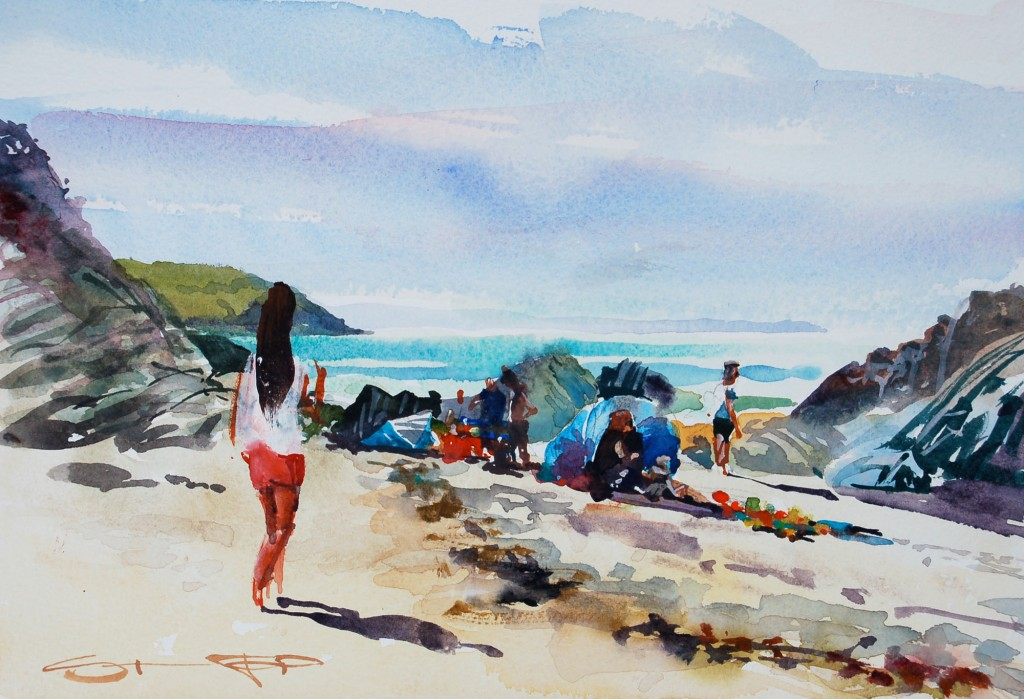 Tuesday Morning,Barricane watercolour painting by Steve PP available from his Woolacombe Art Gallery