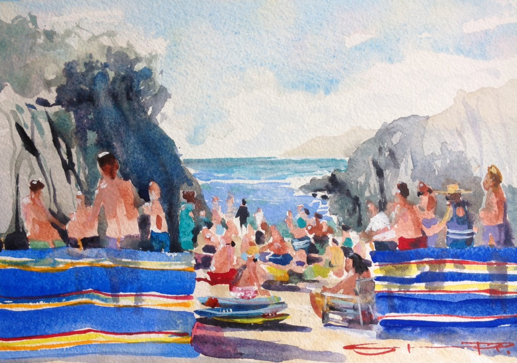 Suntans and ice cream watercolour painting on Barricane beach by Woolacombe plein air artist Steve PP available from his Woolacombe art gallery
