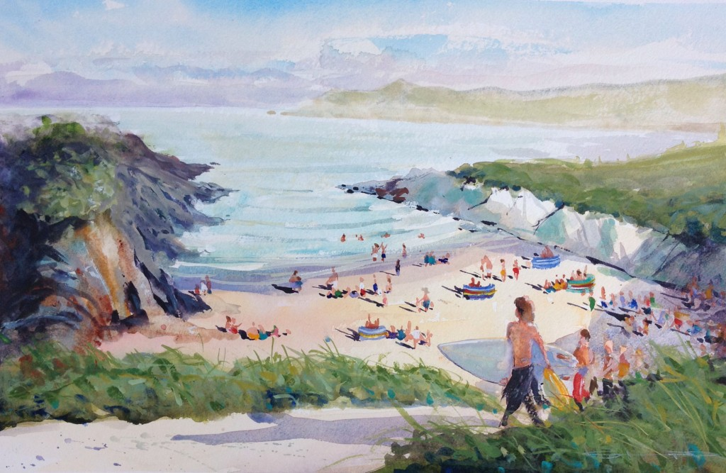 Time for Coffee , watercolour painting of surfers at Barricane Beach Woolacombe devon, by artist Steve PP, available from his Woolacombe Paintings Art Gallery