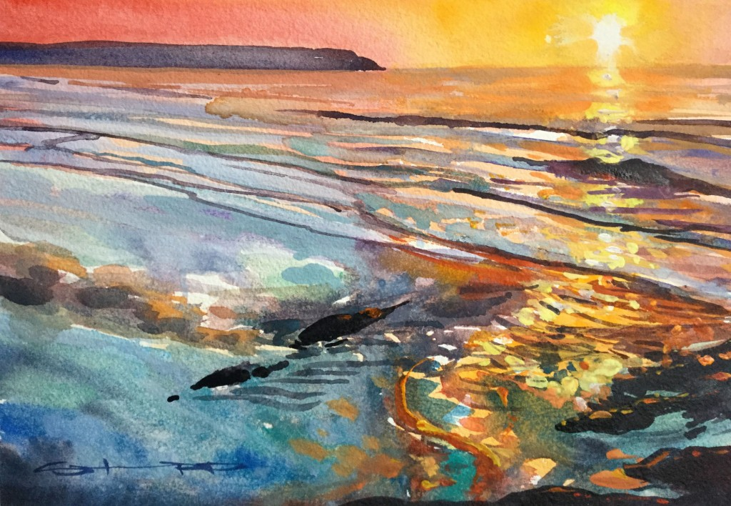 Autumn Jewels watercolour painting by Steve PP available with other Woolacombe paintings from his North Devon Art Gallery
