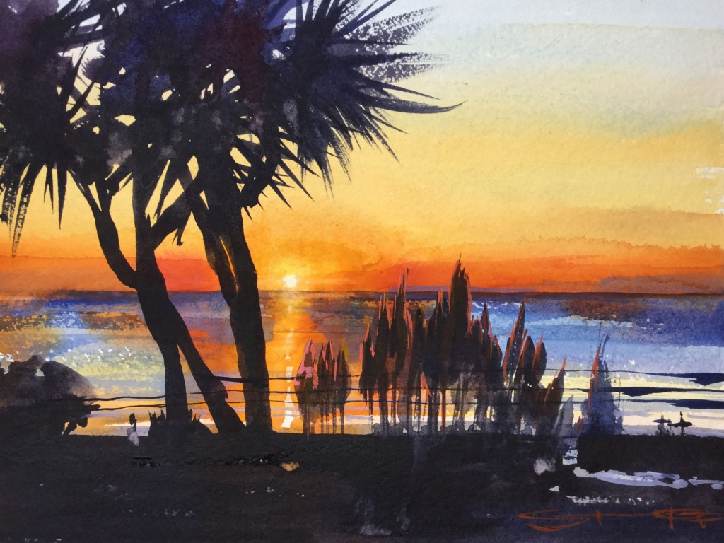 burnt-orange-sundowner watercolour sunset surfers painting by Woolacombe artist Steve PP Woolacombe Paintings available from his North Devon Art Gallery
