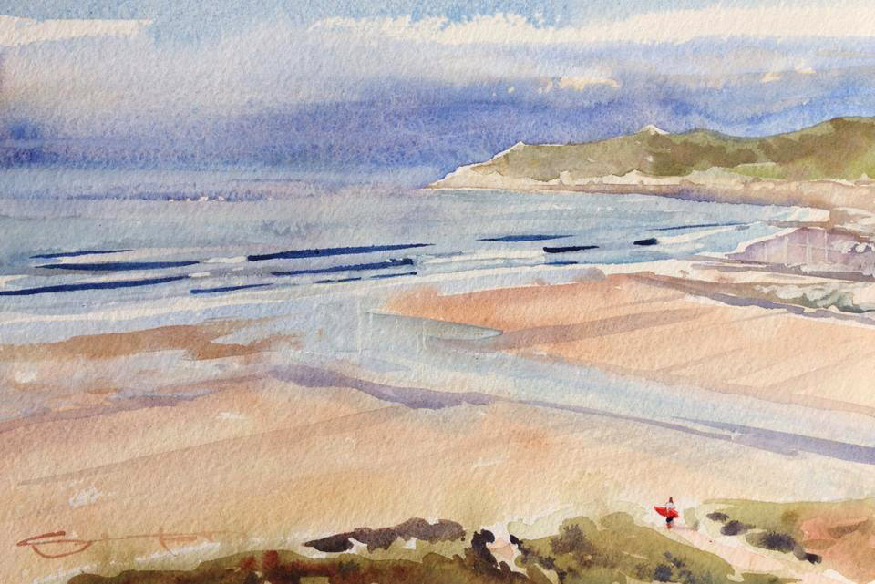 """Fresh Swell"" Woolacombe beach watercolour painting by Devon Steve PP artist available from his Woolacombe art gallery"