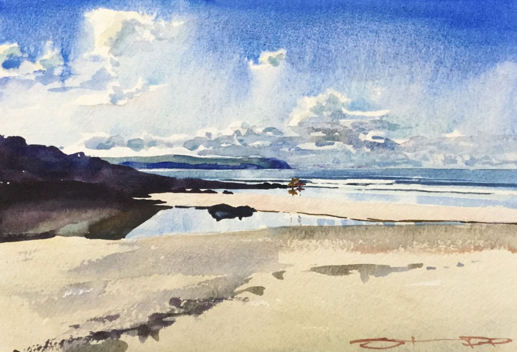 Lowtide-Yarning surfing watercolour painting by Steve PP available from his Woolacombe Gallery along with other Woolacombe and North Devon Paintings