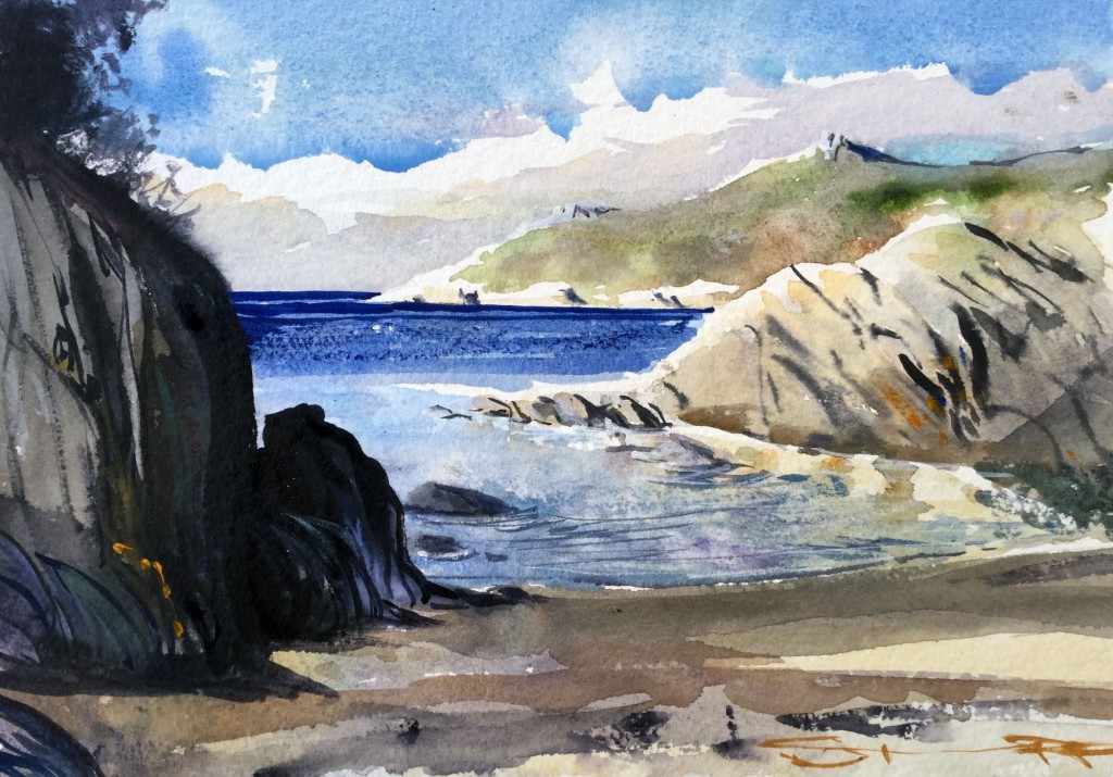 Not A Soul In Sight! Barricane Beach watercolour painting by Devon artist Steve PP available with many other Woolacombe Paintings from his North Devon Gallery.