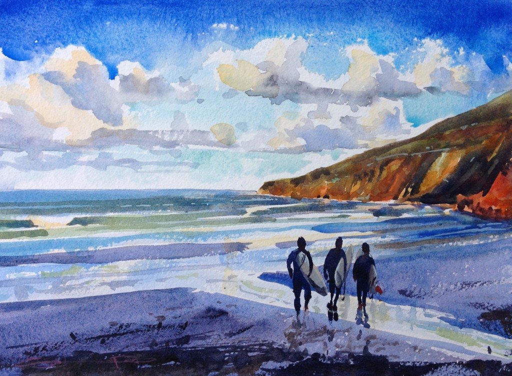 """Dawn Patrol"" surf art surfing watercolour painting by Devon Artist Steve PP available from his Woolacombe Art Paintings Gallery"
