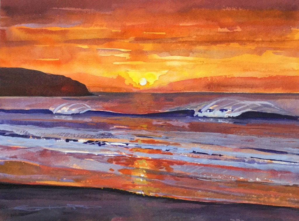 """""""Burning Up!"""" Woolacombe surf rolling in under a January sunset sky by Devon artist Steve PP available from his Woolacombe Paintings Gallery"""