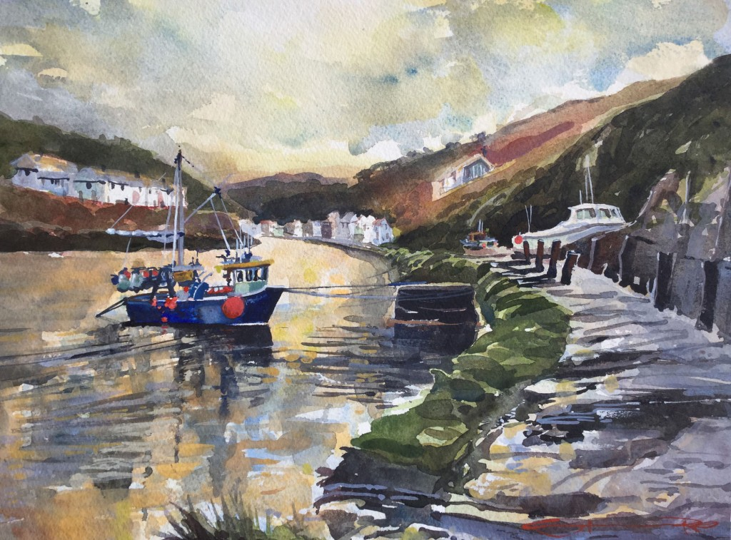 Boscastle_Calm Cornwall watercolour painting by Woolacombe artist Steve PP available from his North Devon Art Gallery