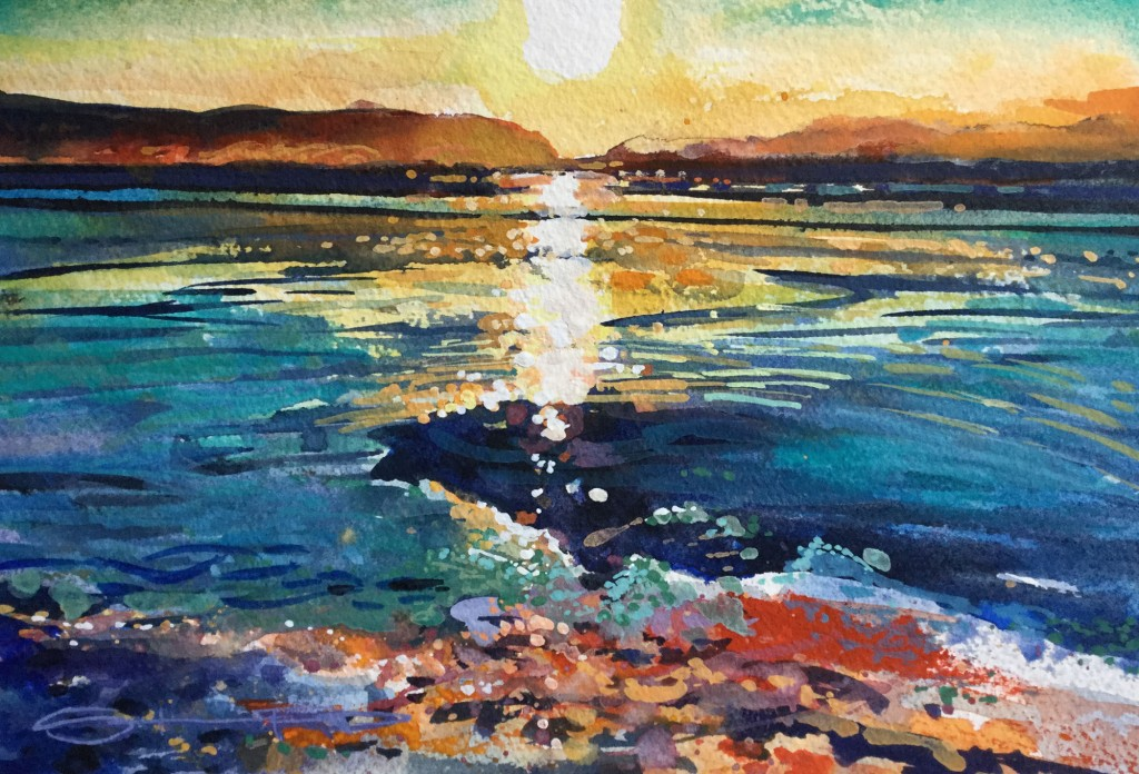 Frothing Winter sunset spectacular on the high tideline on woolacombe Beach Watercolour by Steve PP