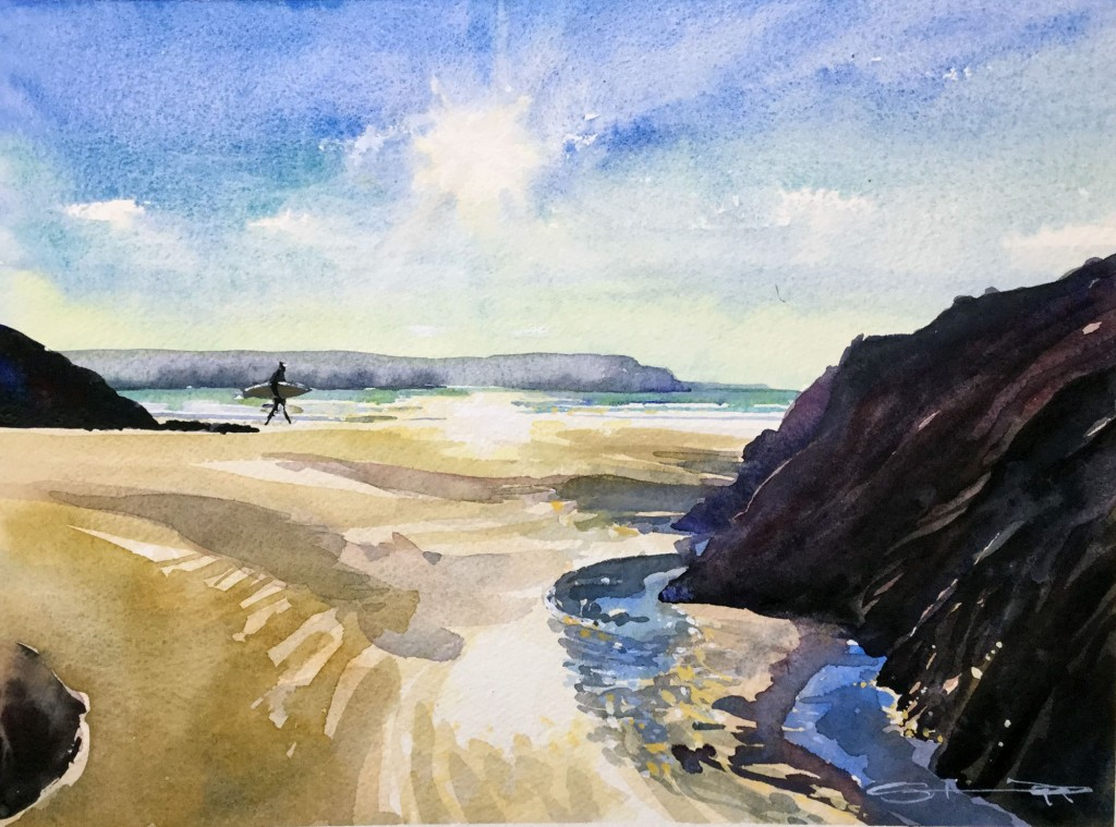 winter_warmth woolacombe watercolour painting by Devon artist Steve PP available from his Woolacombe Paintings Gallery