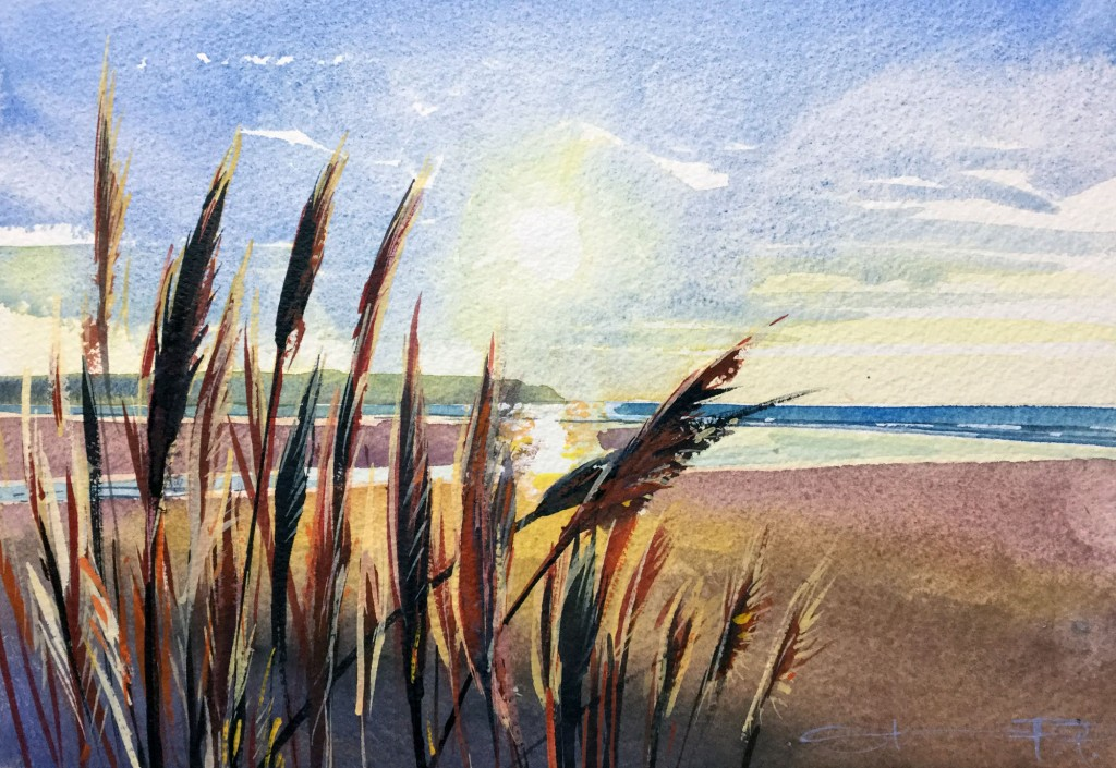 """Blowing in the wind"" Woolacombe Watercolour painting available from Steve PP in his Woolacombe paintings gallery in North Devon."