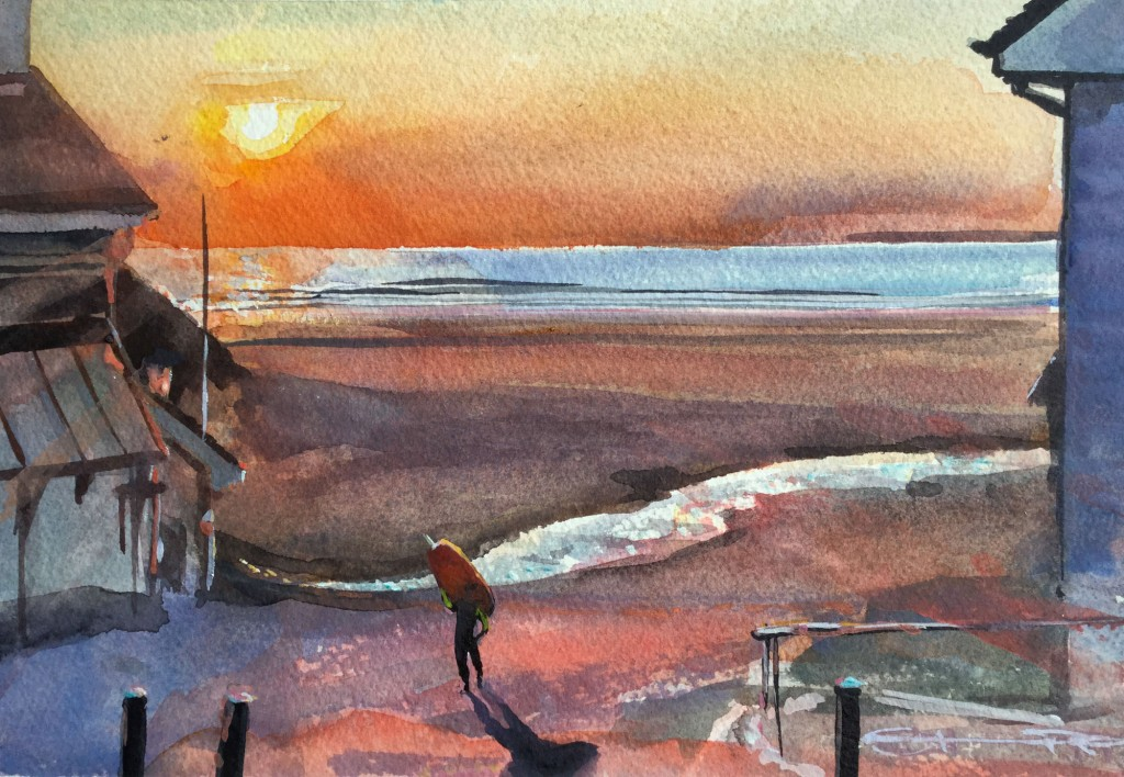 """End of a good day!"" surfer painting by Woolacombe watercolour artist Steve PP."