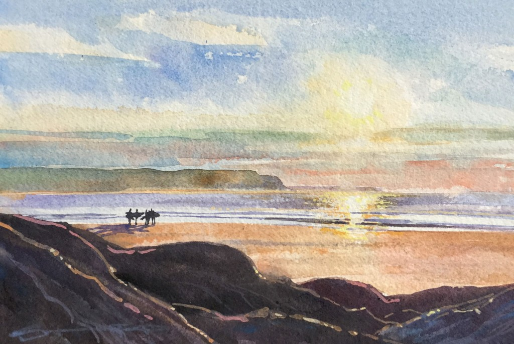 Over The Yardarm - Woolacombe Beach watercolour painting by North Devon artist Steve PP available from his Woolacombe paintings gallery