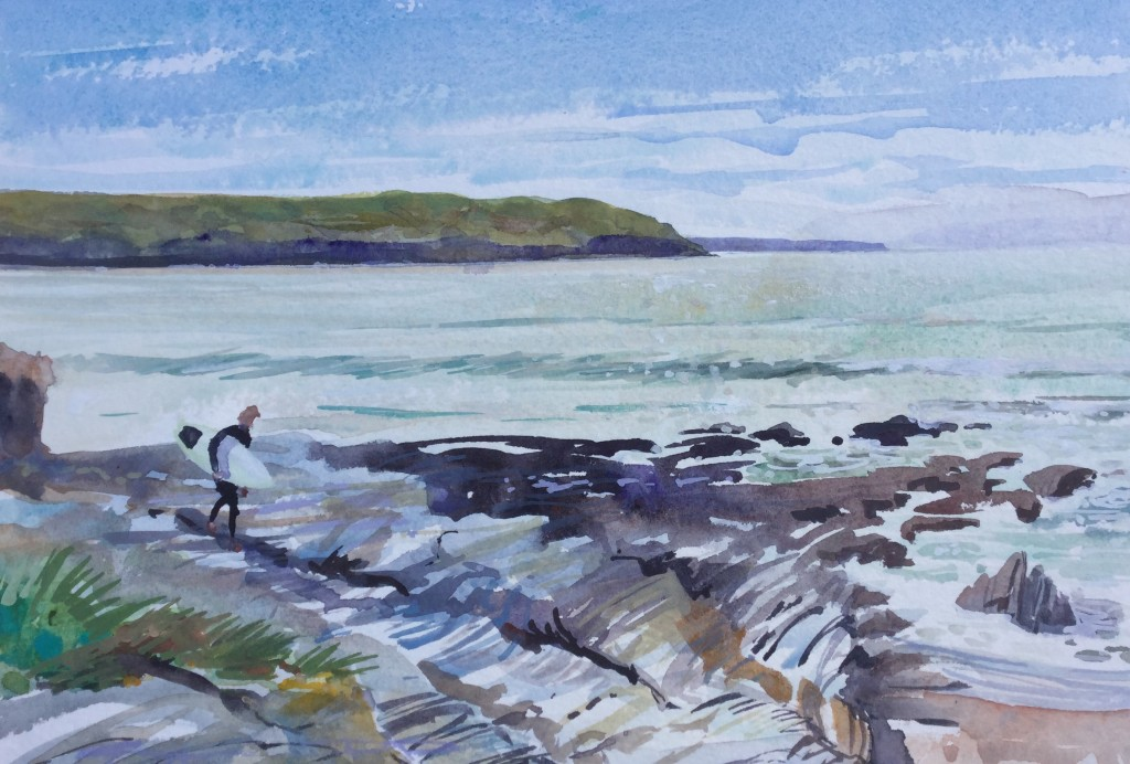 Don't step on the Shells,bro!  Surfer watercolour painting from Woolacombe artist Steve PP.  Available from his Devon Art Gallery