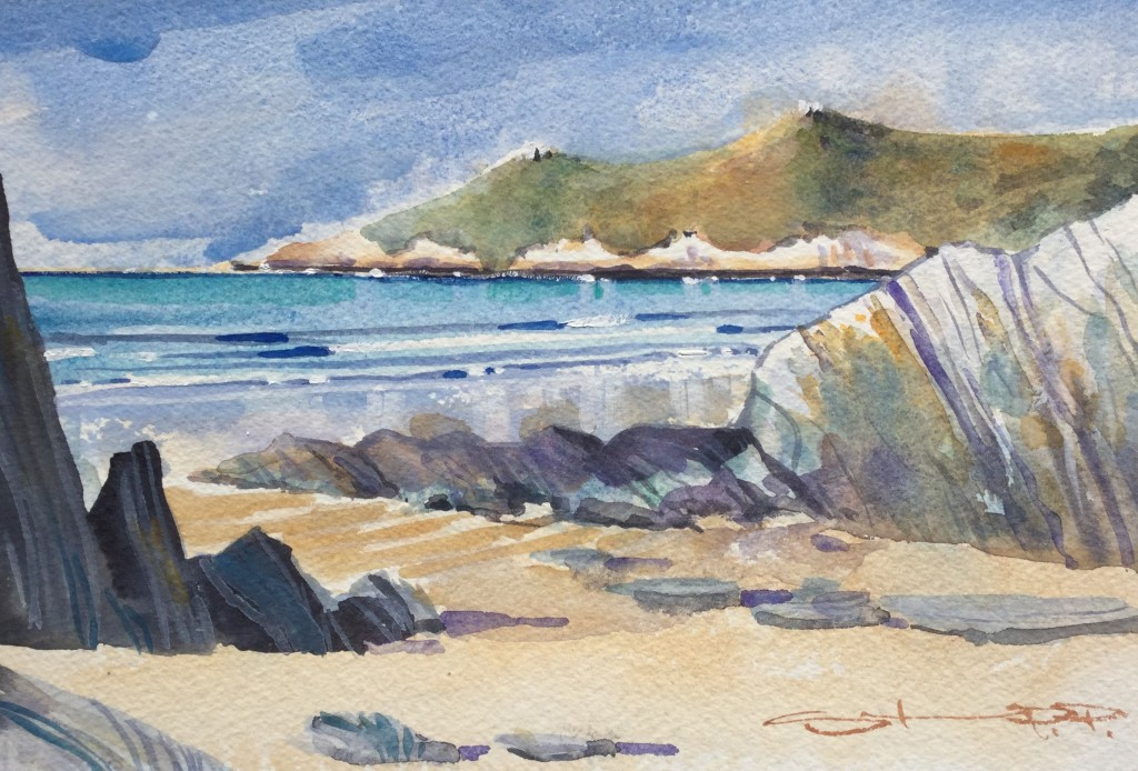 Springtime Barricane watercolour available along with more Woolacombe paintings from Steve PP