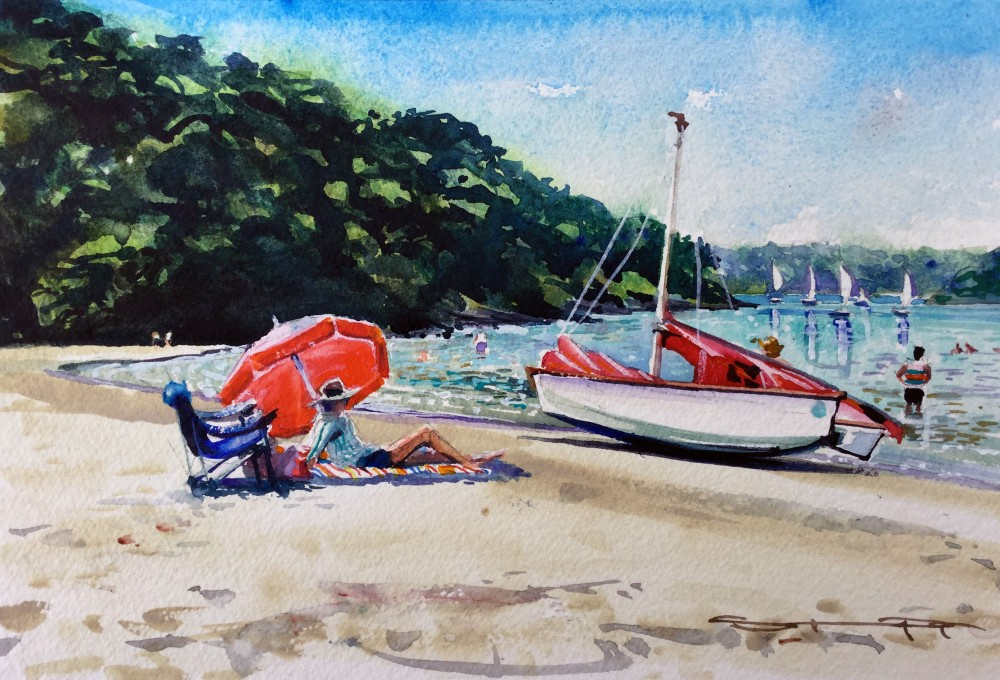 on-a-sunny-afternoon by Woolacombe artist Steve PP, Salcombe estuary watercolour painting by Devon artist Steve PP.