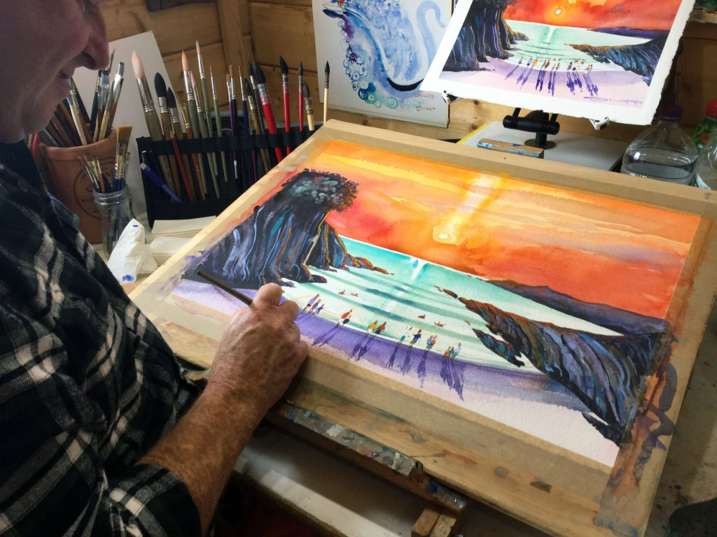 "Woolacombe artist Steve PP Painting 'Warmth of the Sun"" in the studio."
