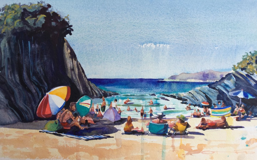 sitting in the sun on Barricane Beach Woolacombe original watercolour fine art painting by Steve PP