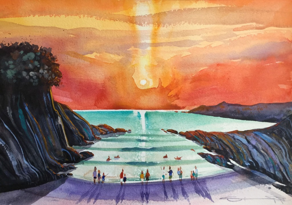 The Warmth of the Sun half sheet watercolour painting from Woolacombe artist Steve PP.