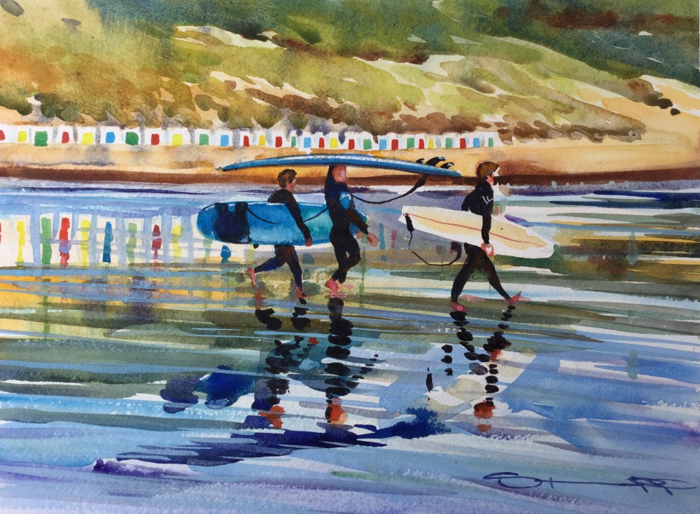low tide late afternoon woolacombe bay surfing watercolour painting by Devon artist Steve PP.