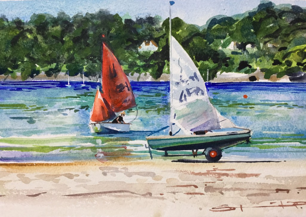 one-in-one-out Salcombe Series by Steve PP sailing watercolour paintings