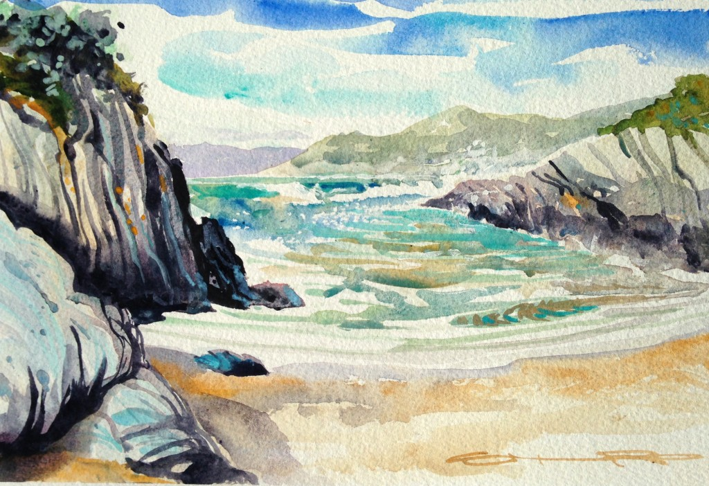 Blustery Barricane Beach an original watercolour painting by Woolacombe artist Steve PP.