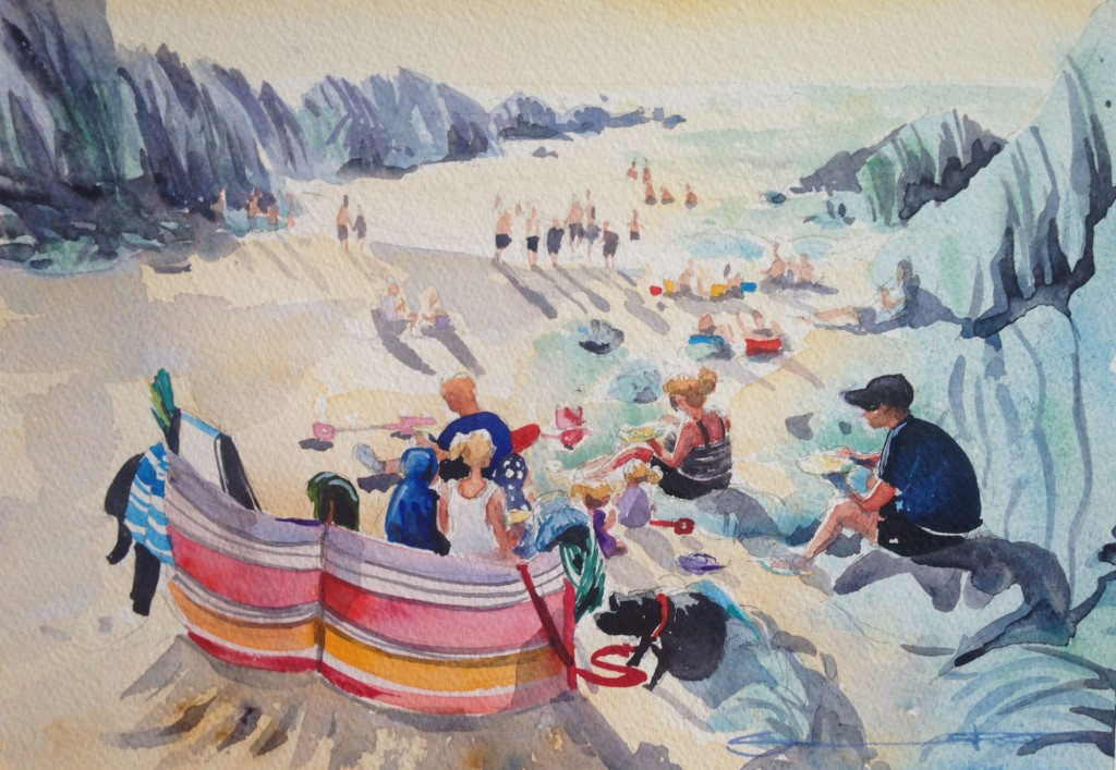 The Golden Hour, Barricane Beach enjoying family time, with good food and warm sunshine. Watercolour painting by Woolacombe artist Steve PP.
