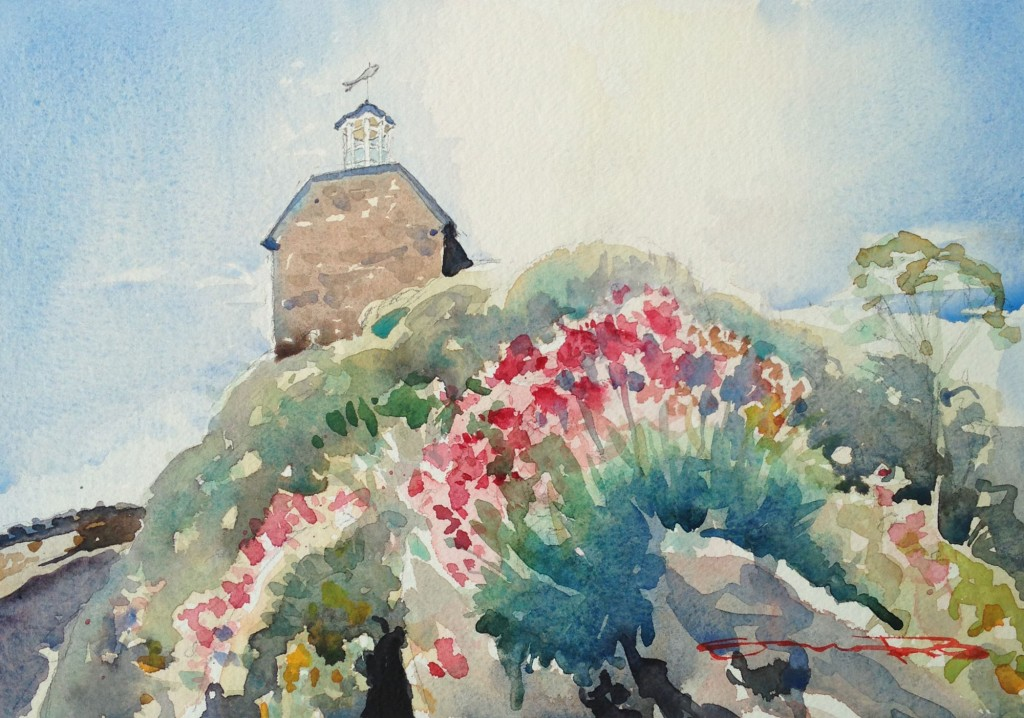 Chapel In The Harbour Ilfracombe harbour chapel watercolour painting by Woolacombe artist Steve PP. Available from steven Pleydell-Pearce Fine Art