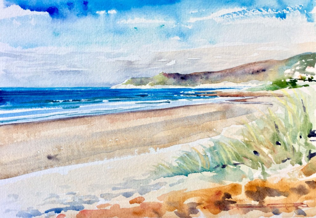 November Warmth watercolour plein air painting with Steve PP out on Woolacombe Beach, Devon UK