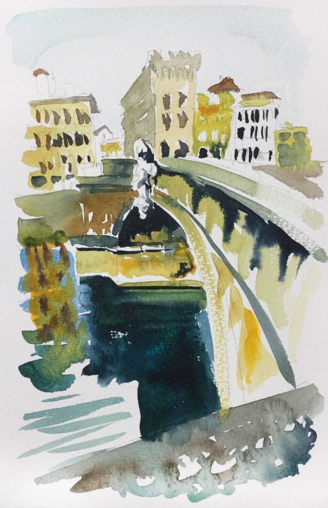 Across The Arno Florence. Italy in watercolours by Woolacombe artist Steve PP