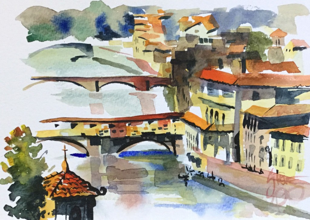 Looking Down On Ponte Vecchio- Italy in Watercolours by Steve PP.