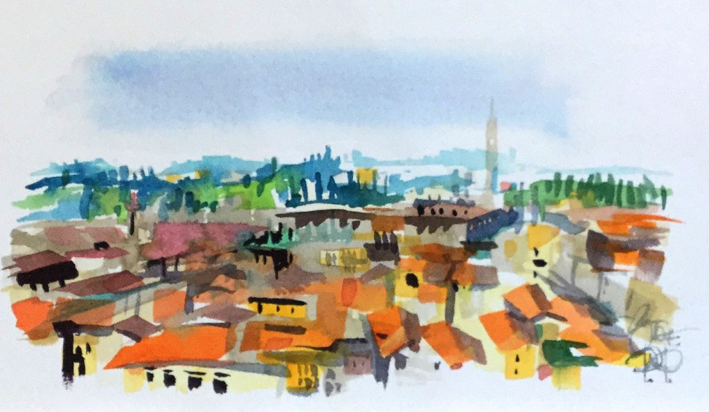 Over the rooftops of Florence- Italy in watercolours by Steve PP.