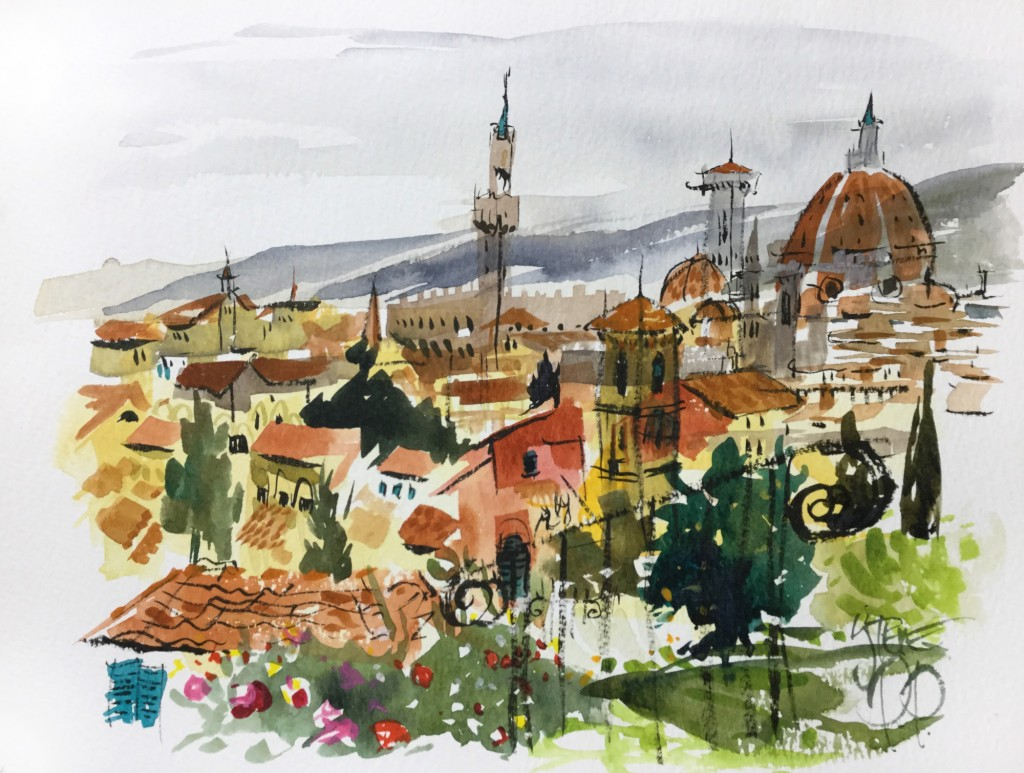 Giardino Delle Rose, Florence watercolour by Steve PP