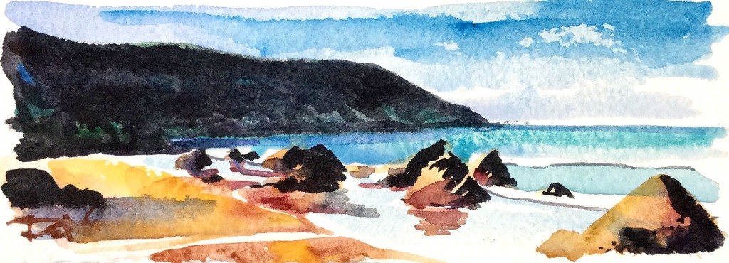 Warm Putsborough Christmas Compact watercolour painting by Steve PP