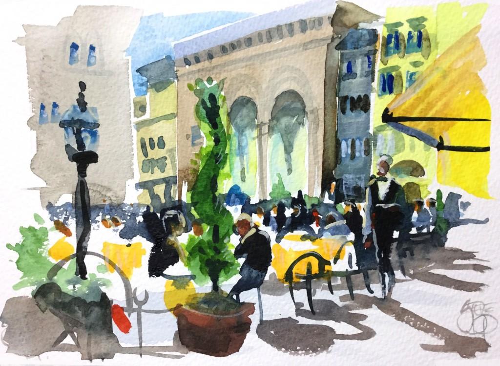 Alfresco Firenze- Italy in watercolours by Steve PP
