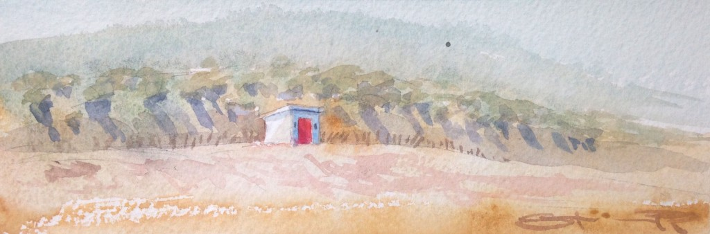 Spring on the beach Christmas Compacts affordable small unique watercolour paintings from Steve PP