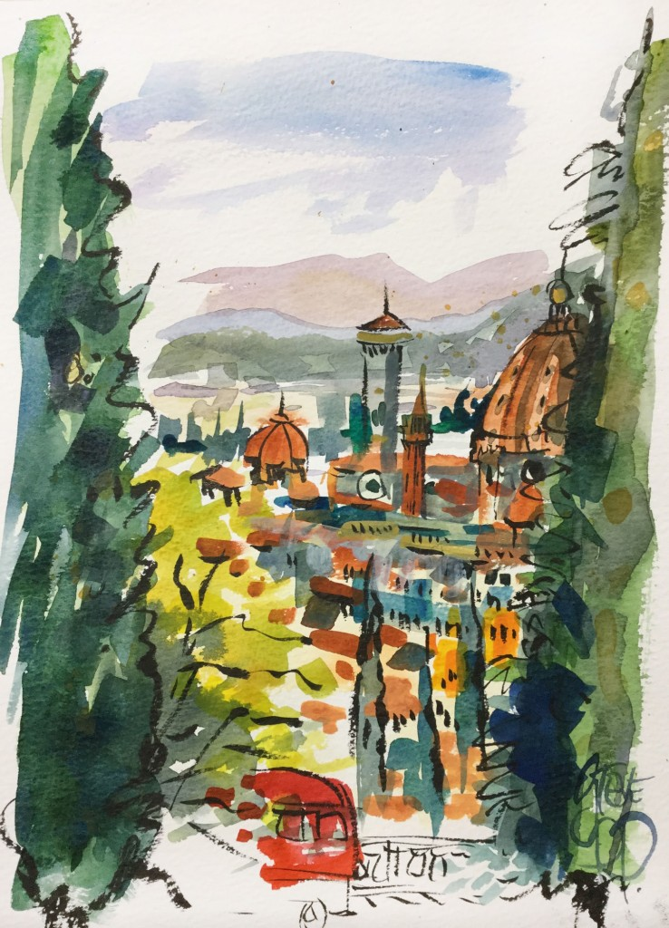 Between The Cypress Trees- Florence Italy in watercolours by Steve PP.